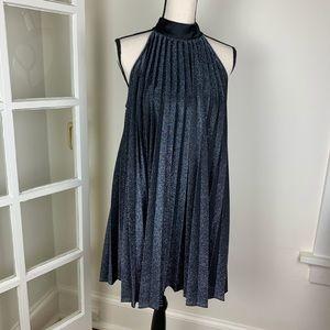 ZARA Black Metallic Pleated Cocktail Dress NWT